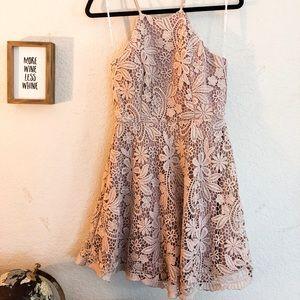 Lulus blush crochet lace mini dress size medium